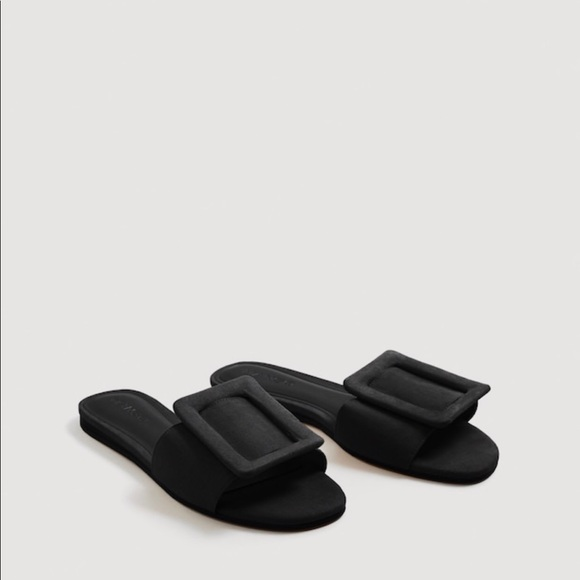 5994b32f38cb Mango Black Faux Suede Buckle Flat Sandals (38). M 5b031bd150687c657111a3fc